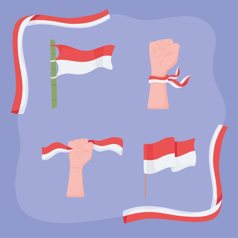 bandeiras da Indonésia com formas diferentes vetor