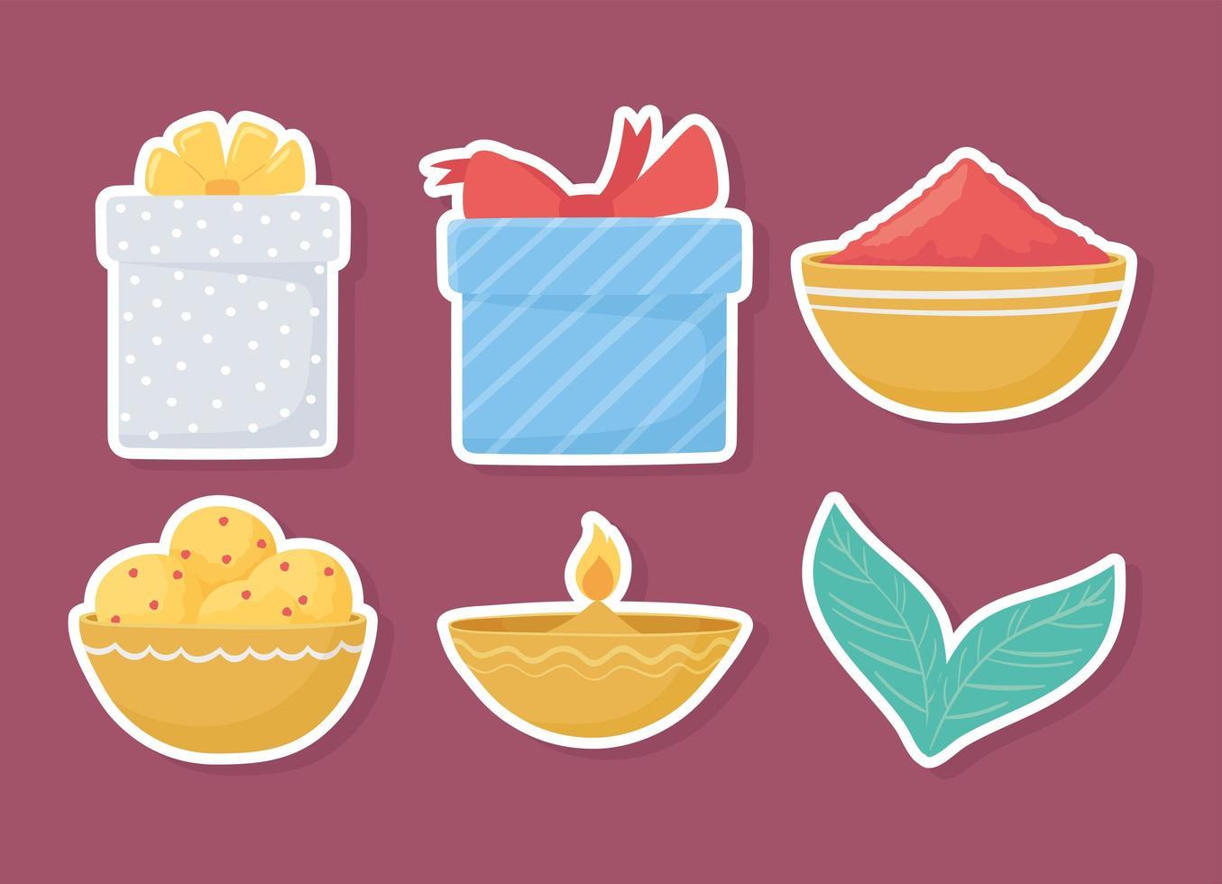 conjunto de ícone de comida e presentes vetor