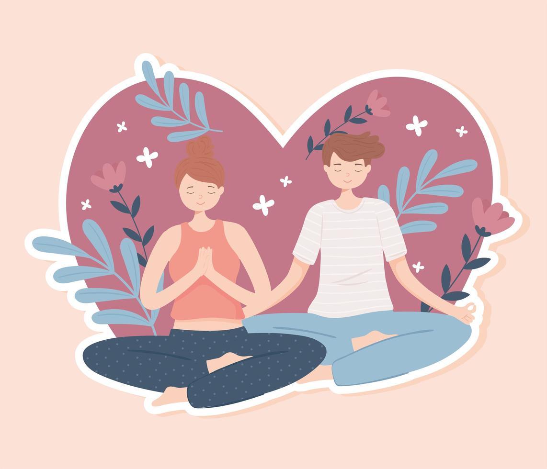 mulher e homem fazendo ioga vetor