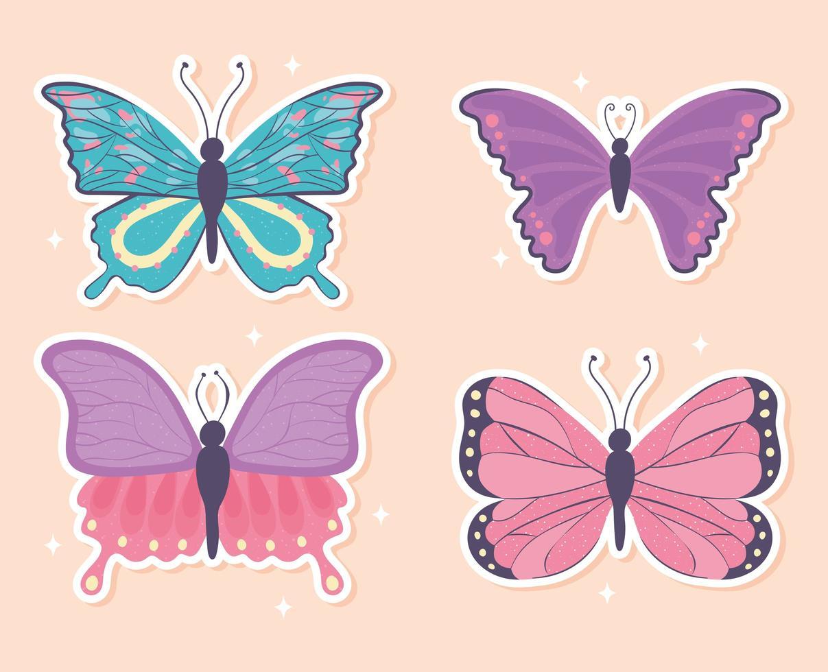 conjunto de desenho animado de borboleta vetor