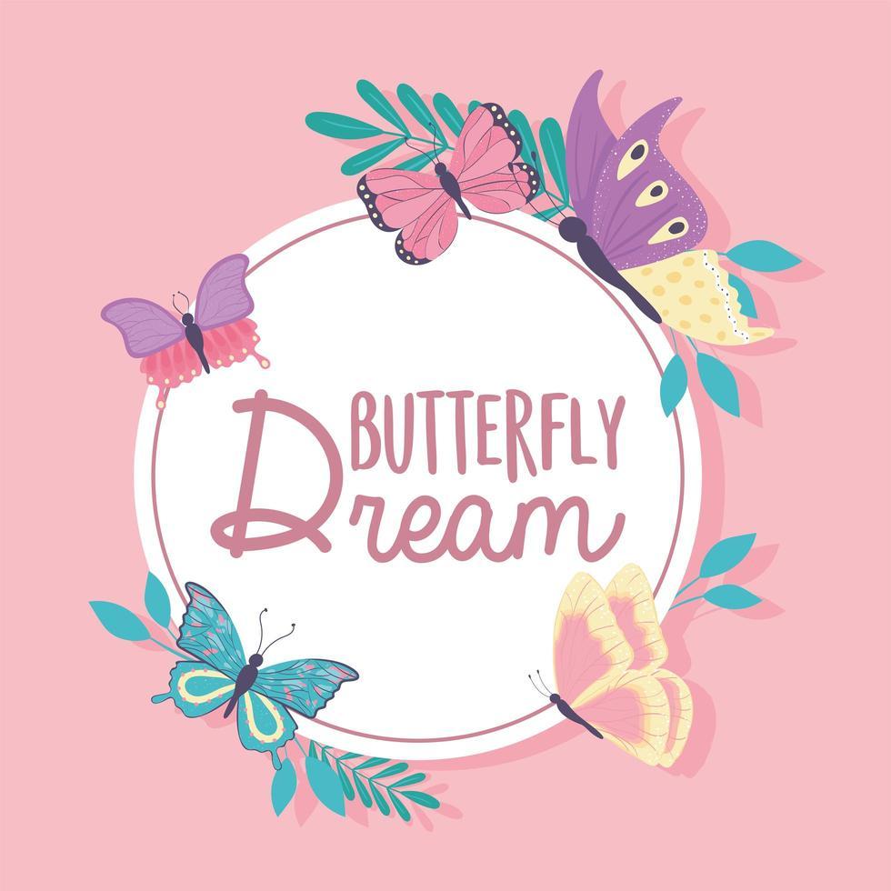 etiqueta de sonho de borboleta vetor