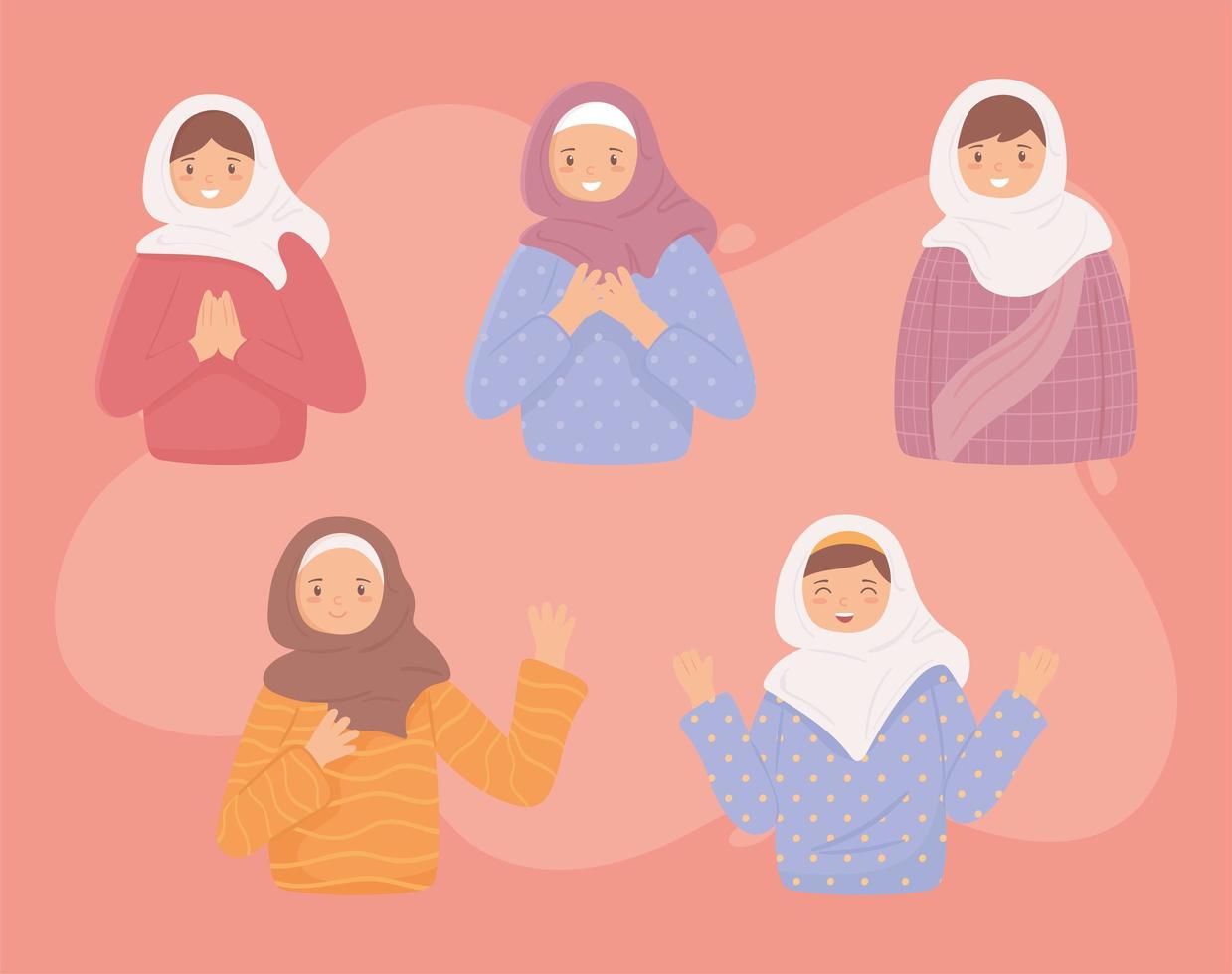conjunto de mulheres muçulmanas vetor