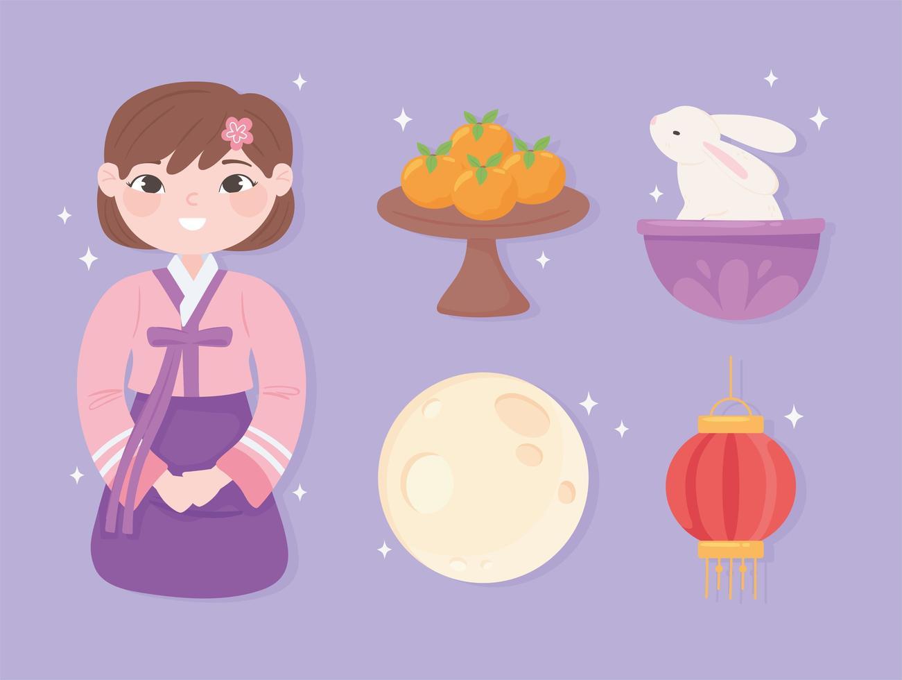 menina coreana e ícones vetor