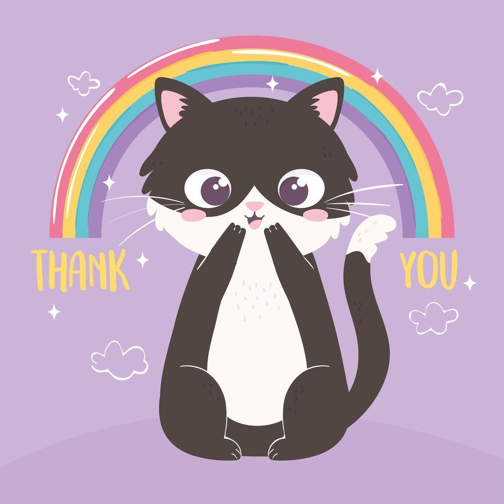 arco-íris de gatinho fofo vetor