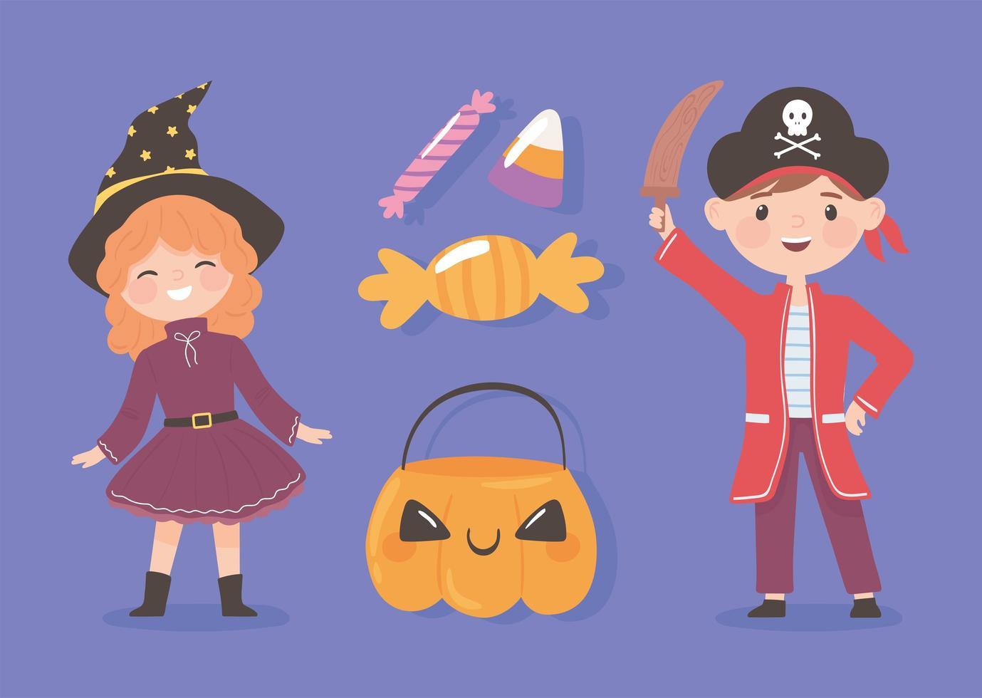 crianças com doces de halloween vetor