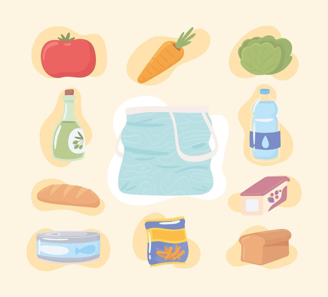 ícones de comida de mercearia vetor