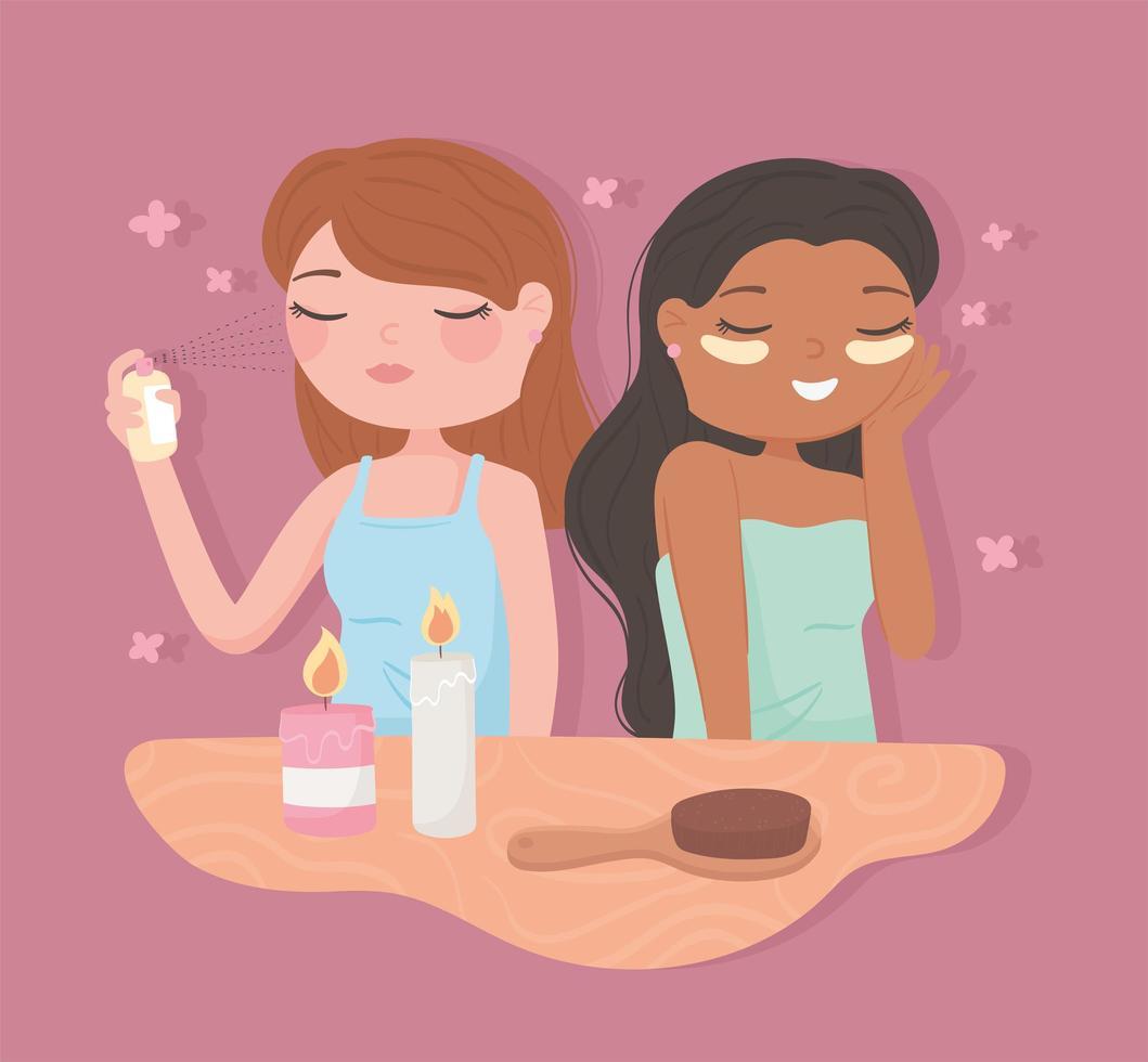 meninas aplicam cosméticos vetor