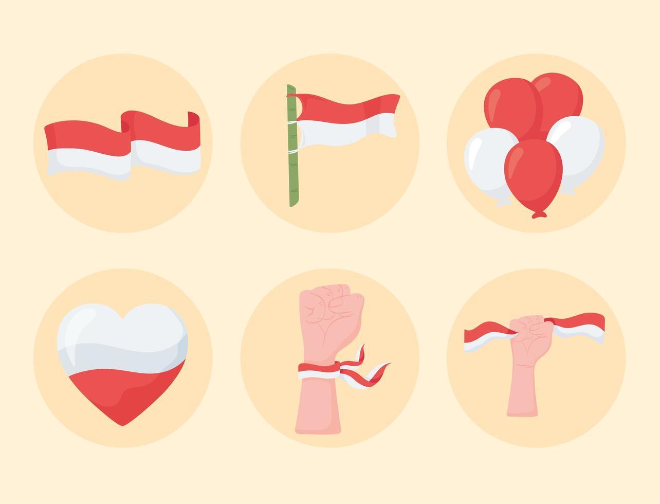 ícones da bandeira da indonésia vetor