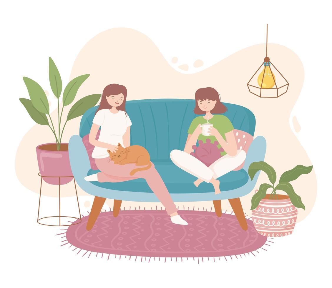meninas em casa confortável vetor