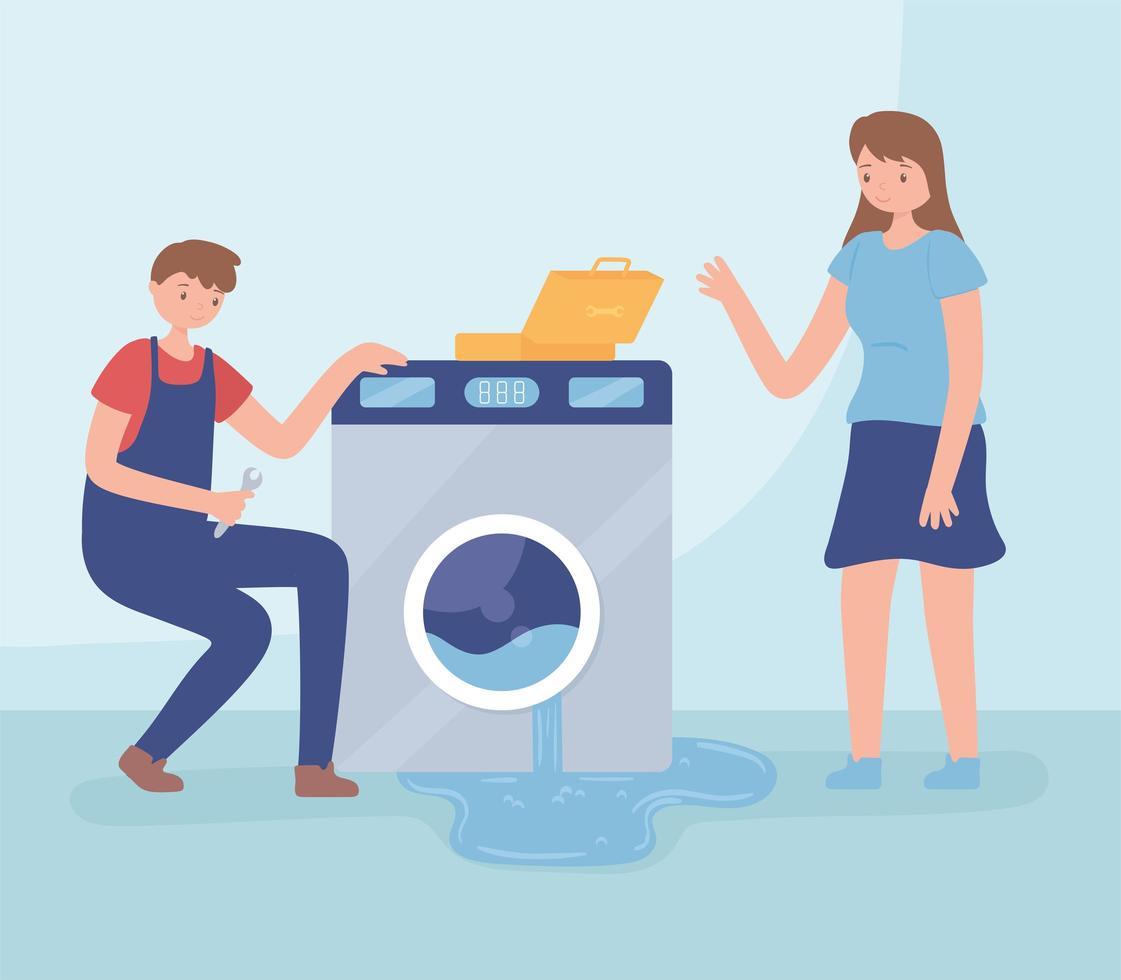 homem consertando máquina de lavar vetor