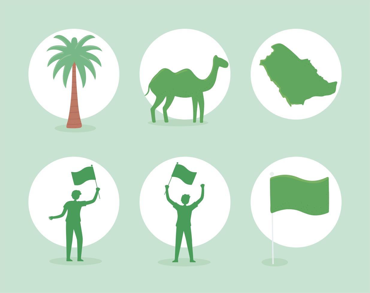ícones saudita animal e bandeiras vetor