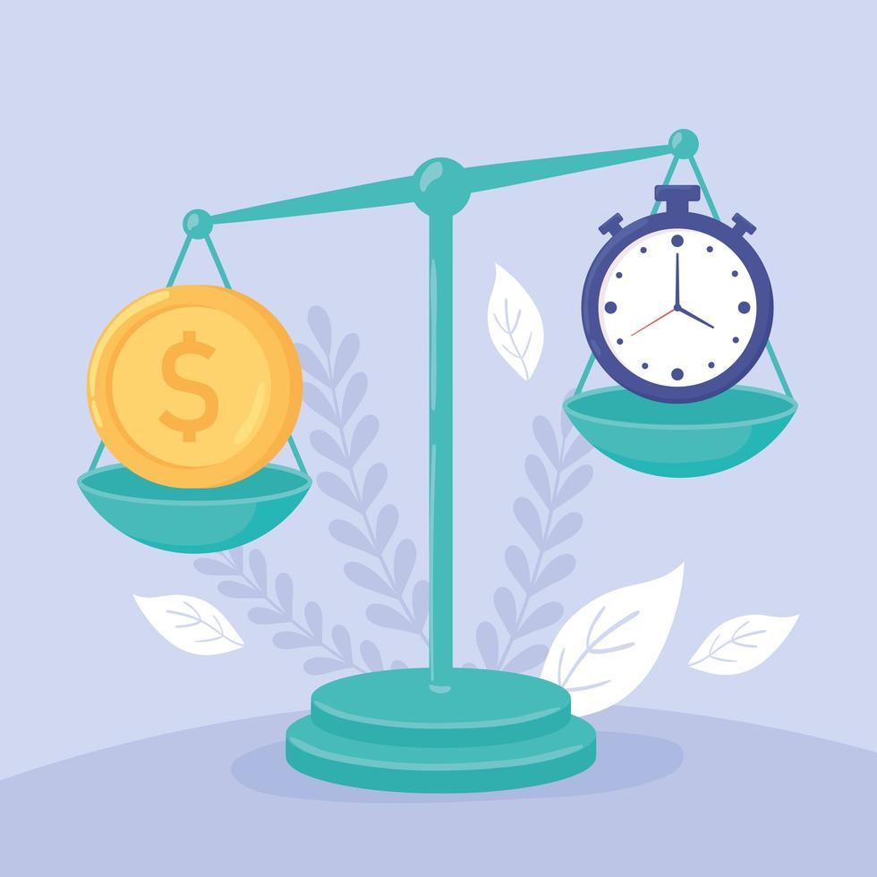 dinheiro e tempo em uma escala de equilíbrio vetor