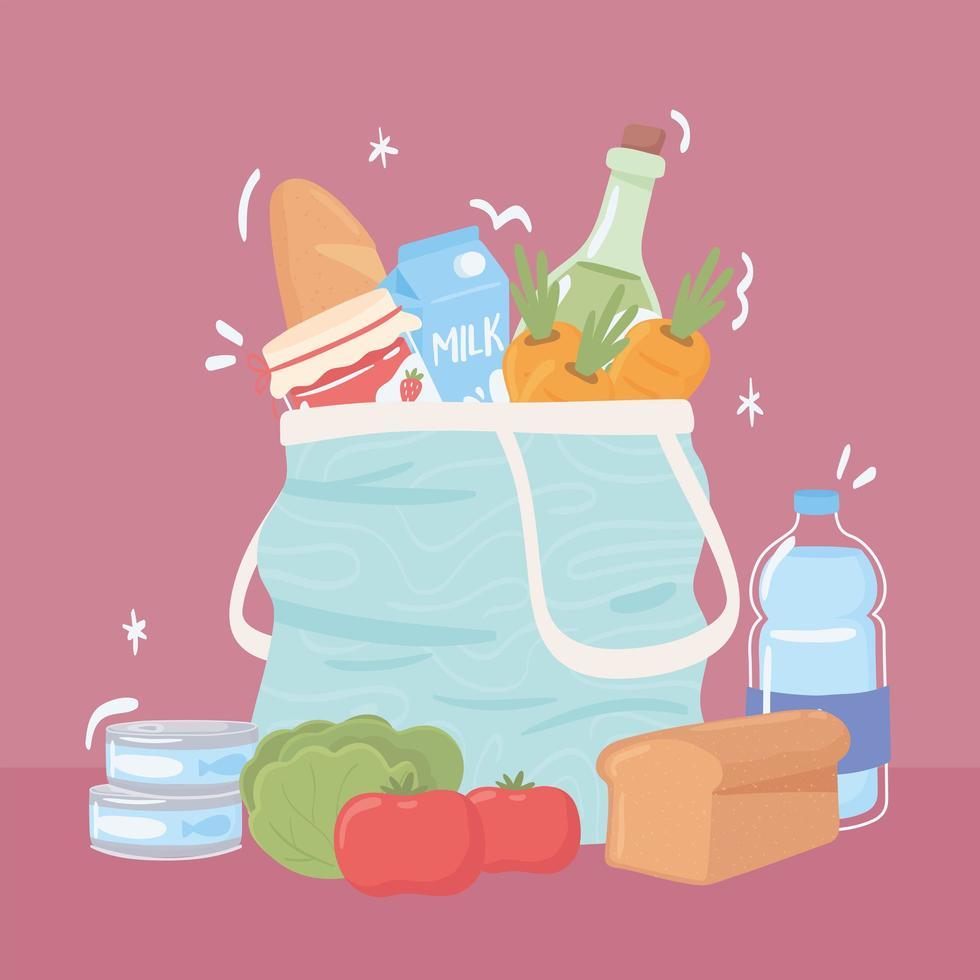 sacola de compras com comida de mercearia vetor