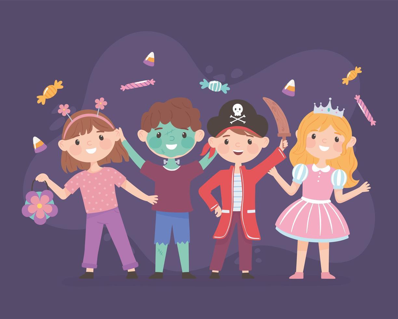 crianças felizes com fantasias vetor
