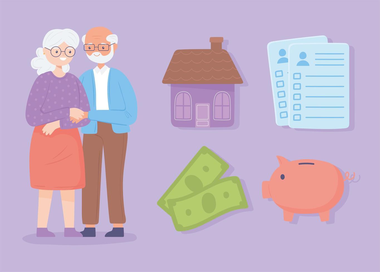 casal de idosos aposentados vetor