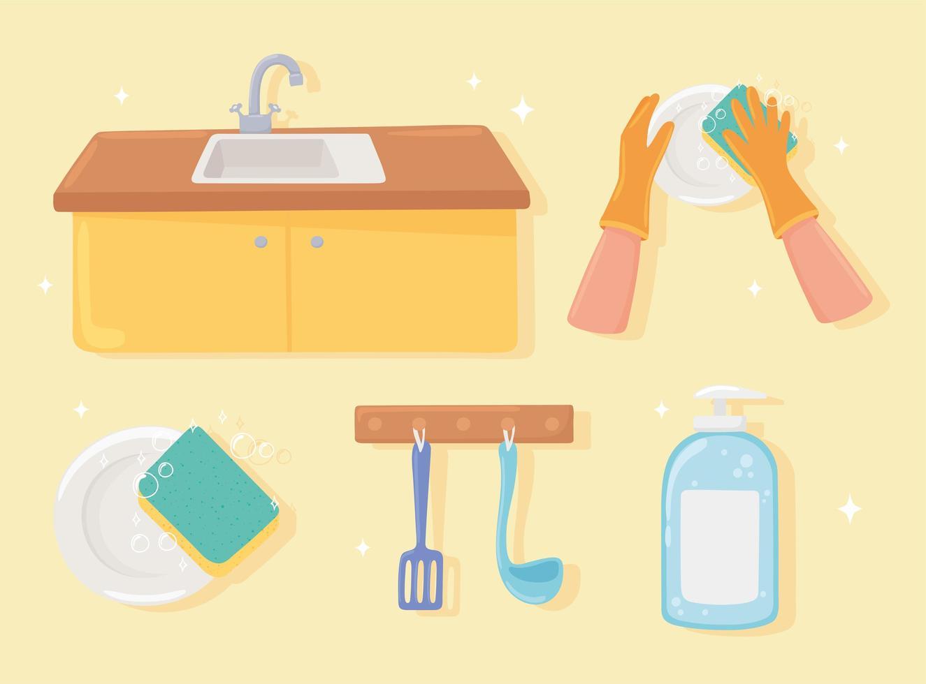 conjunto de ícones de lavagem de cozinha vetor