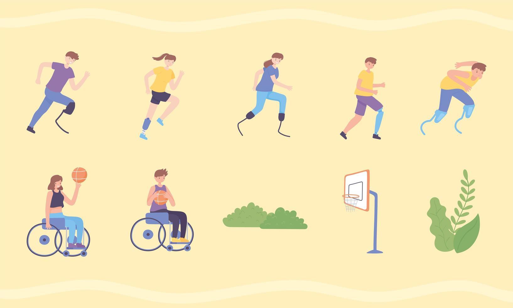 esportistas com prótese vetor