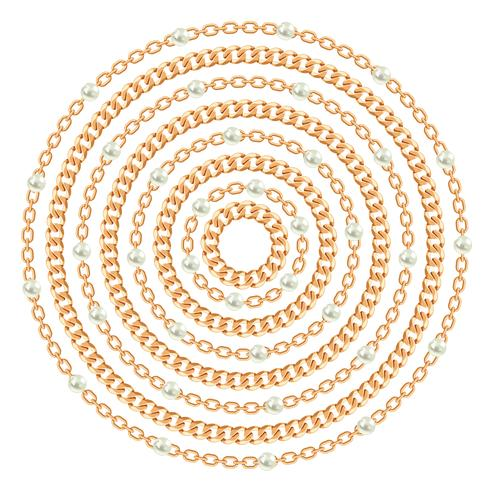 Padrão redondo feito com correntes de ouro e pérolas. Em branco. Ilustração vetorial vetor