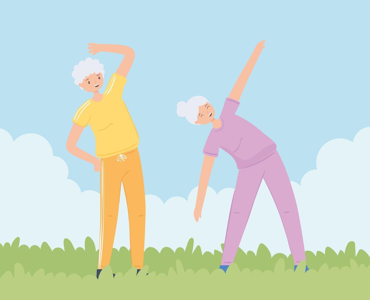 mulheres idosas praticando exercícios vetor