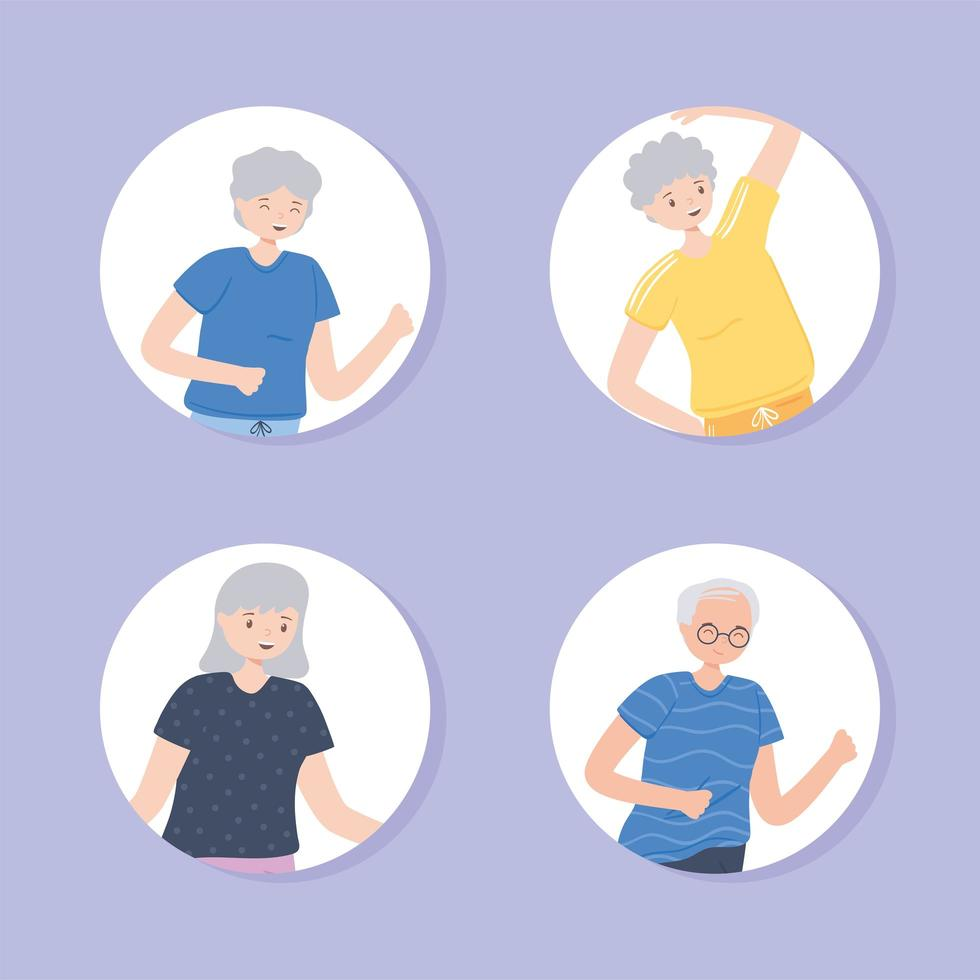 idosos praticando exercícios vetor
