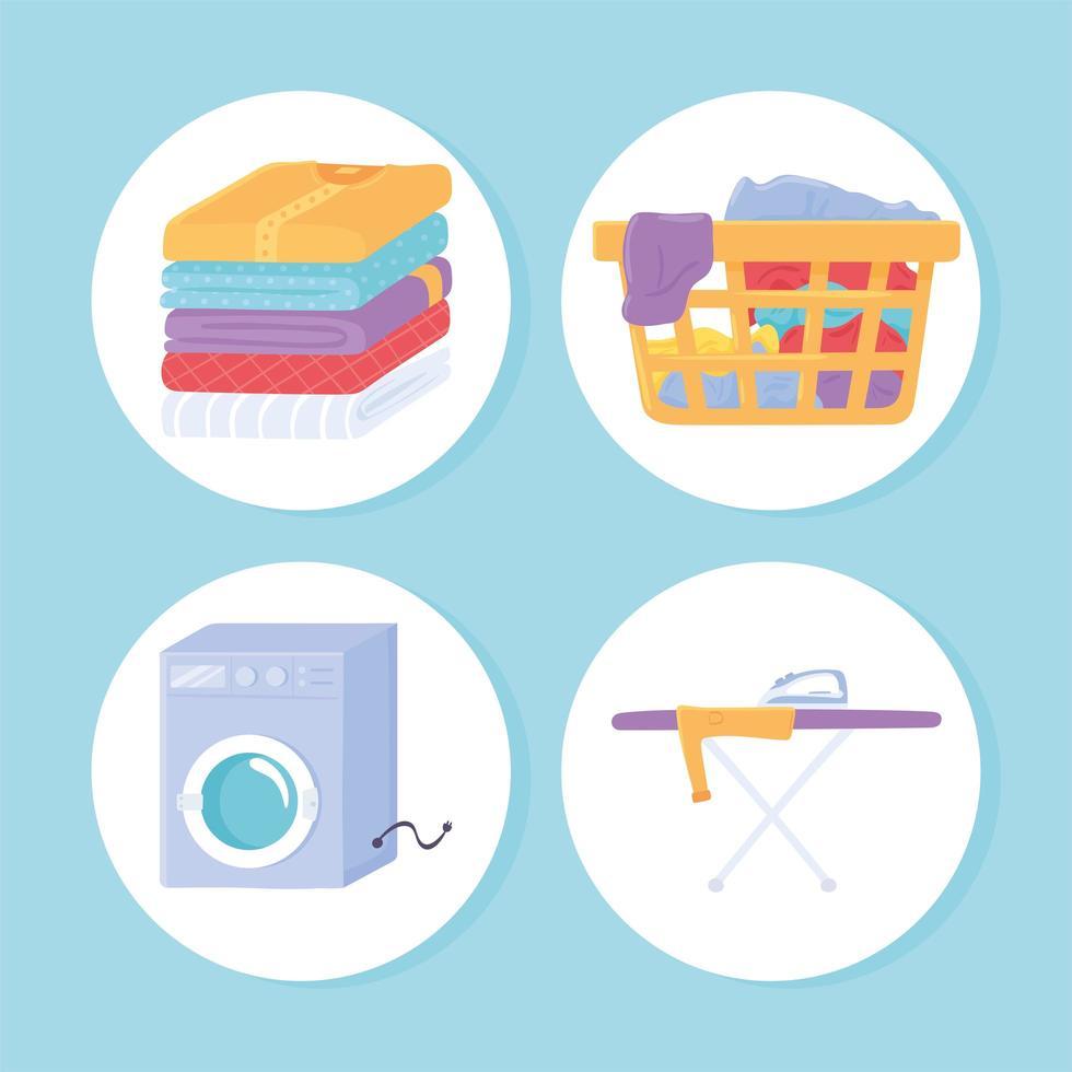 objetos de ícone de roupa suja vetor