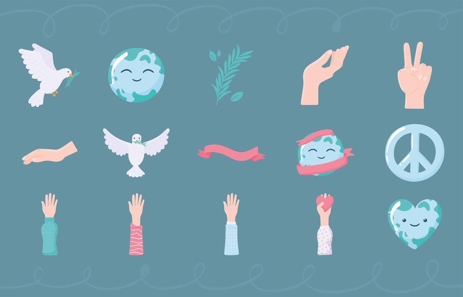 definir ícones de paz vetor