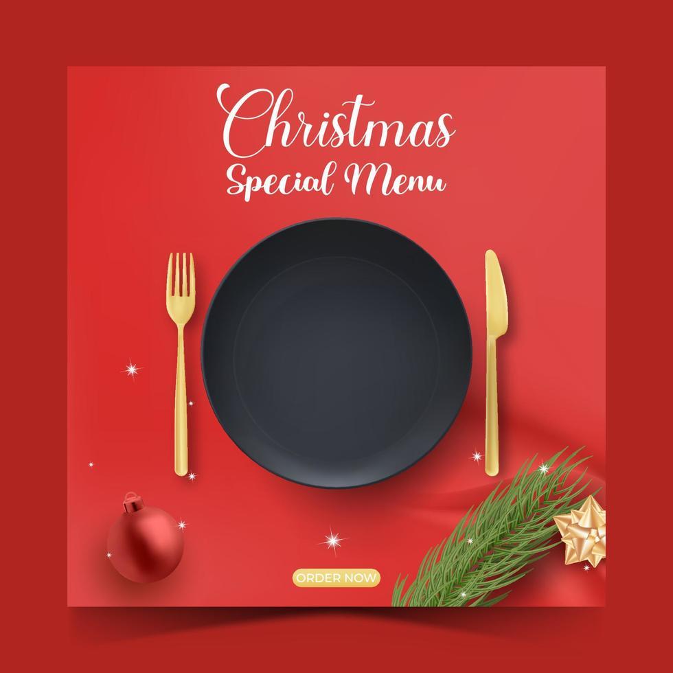 modelo de postagem de comida de natal ou culinária social para promoção vetor