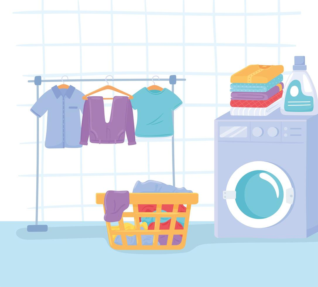 interior da lavanderia doméstica vetor