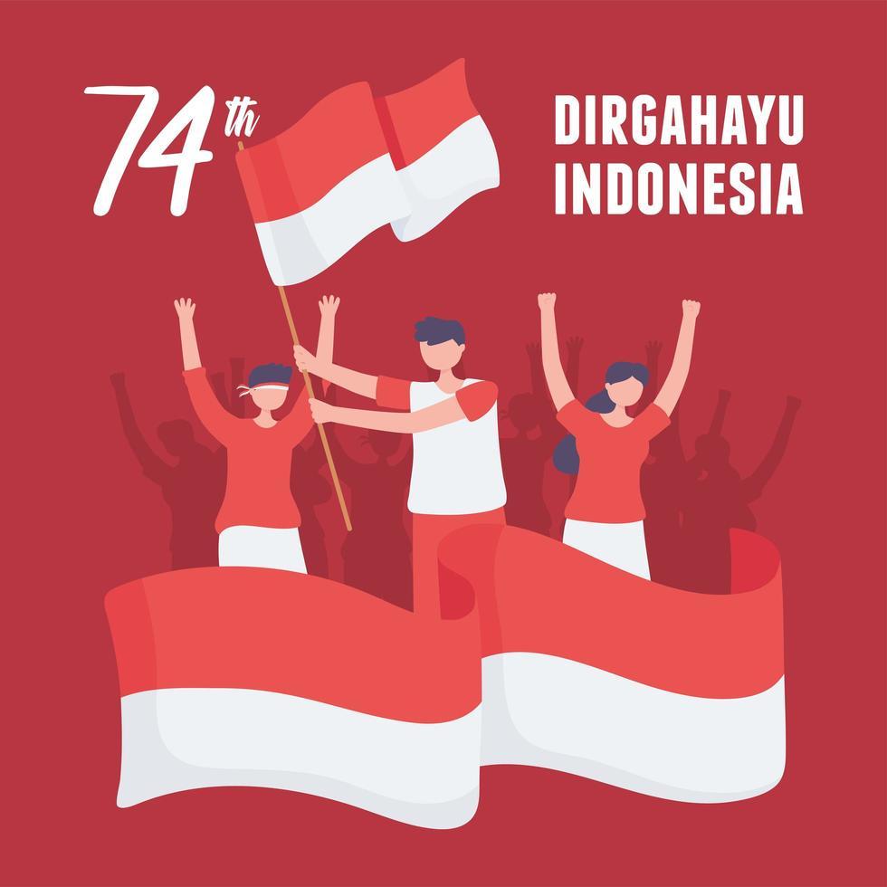 cartão da independência da indonésia vetor