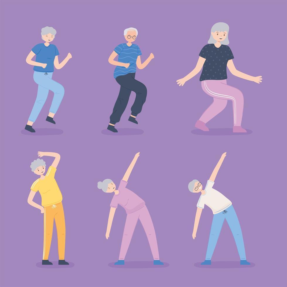 idosos fazendo exercícios vetor
