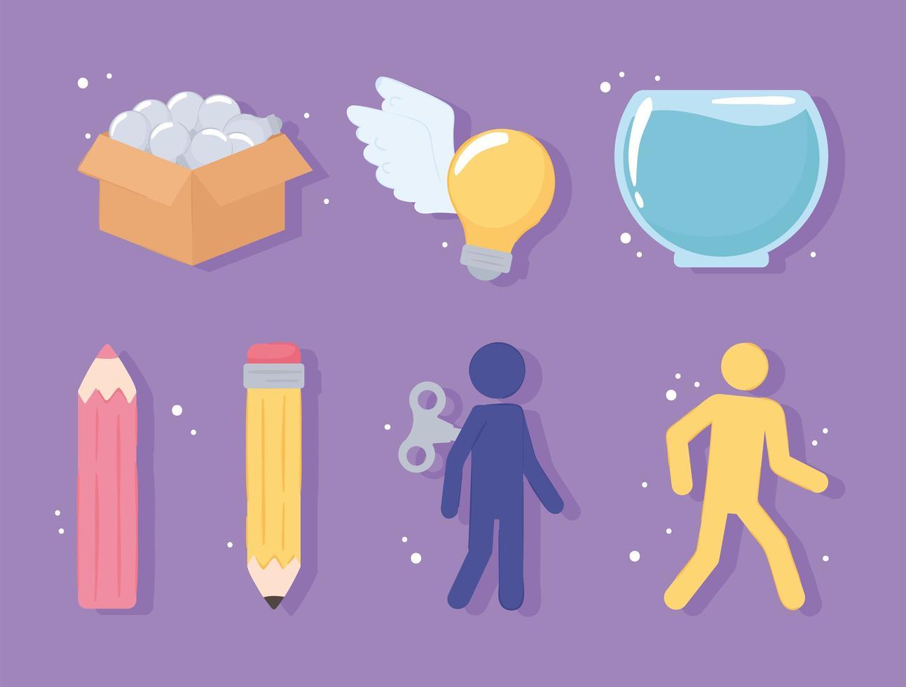 conjunto de ícones de ideias únicas vetor