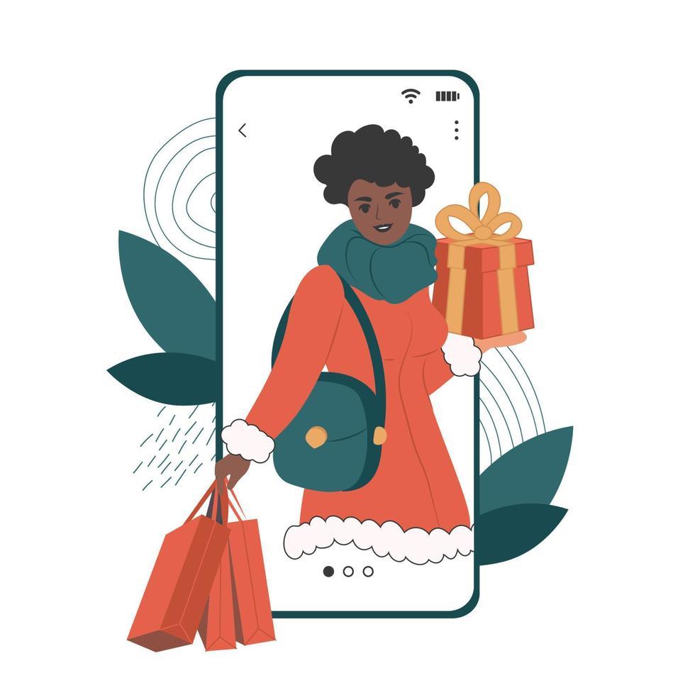 mulher afro-americana com caixa de presente presente na tela do smartphone. ilustrações planas de vetor com garota anunciando mercados de natal e vendas no aplicativo móvel.