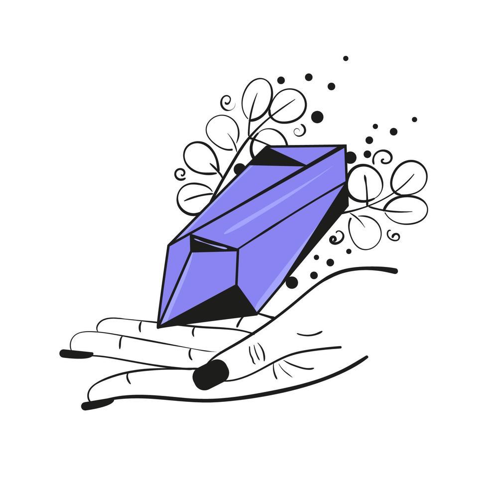 cristal roxo de bruxa na mão de uma mulher desenhado por linha. ilustração vetorial de magia no estilo boho vetor