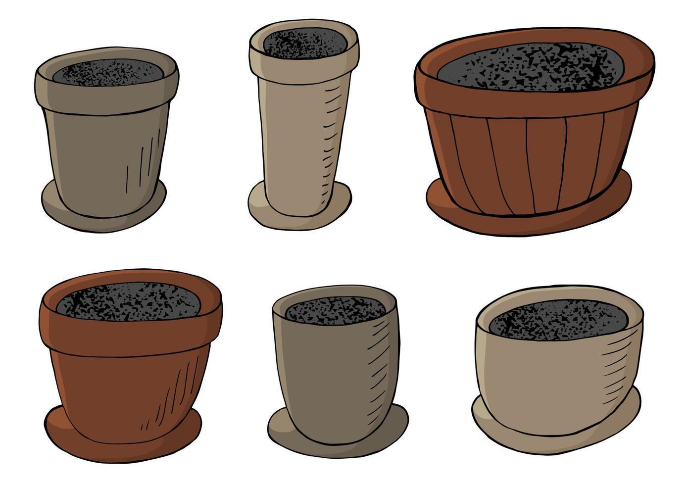 ilustração vetorial bonita. conjunto de vasos de flores de desenho animado vetor