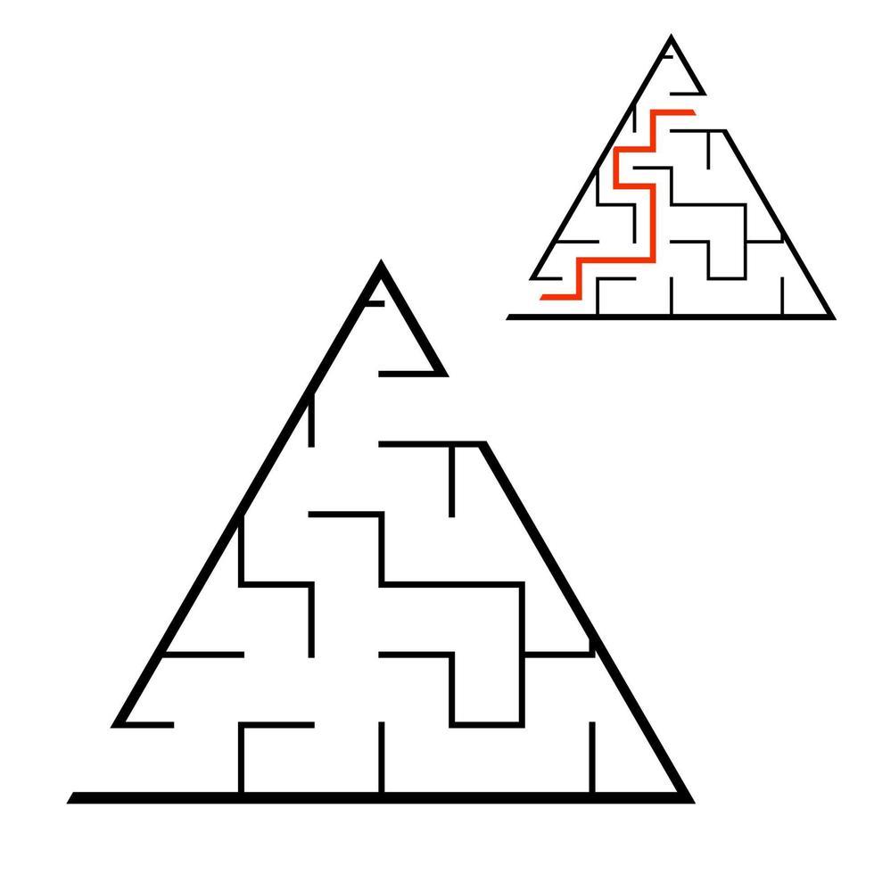 labirinto triangular preto. jogo para crianças. quebra-cabeça para crianças. enigma do labirinto. ilustração em vetor plana isolada no fundo branco. com resposta. com lugar para sua imagem.