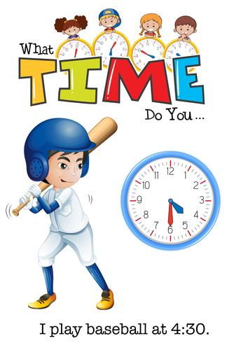 Um menino jogar beisebol às 4:30 vetor