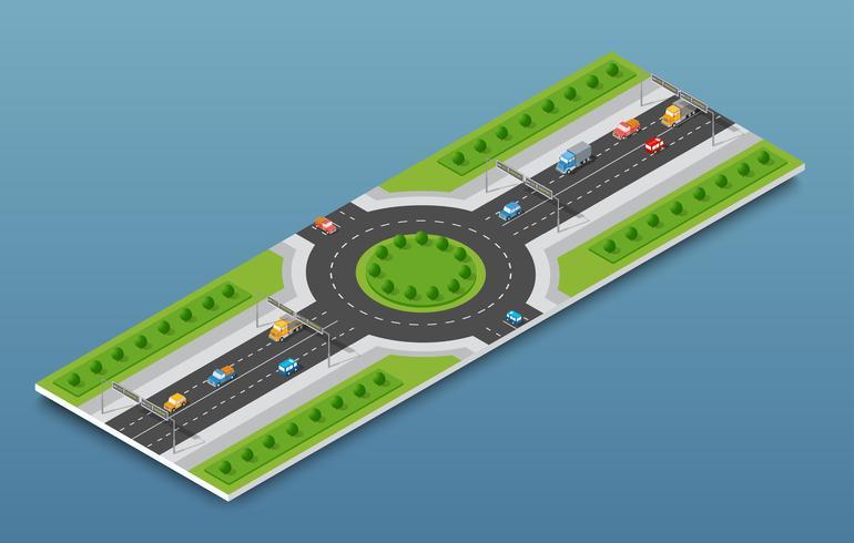 Tráfego da auto-estrada isométrica da cidade na rua vetor