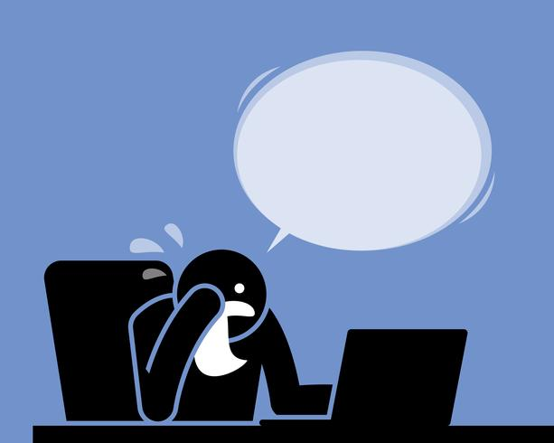 Homem chorando, chorando e soluçando com um lenço enquanto usava o computador. vetor