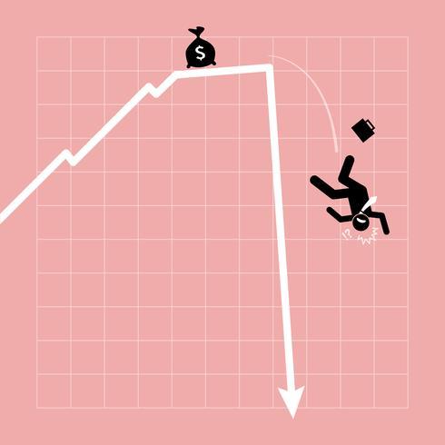 O empresário cai do gráfico à medida que o gráfico mergulha de repente. vetor