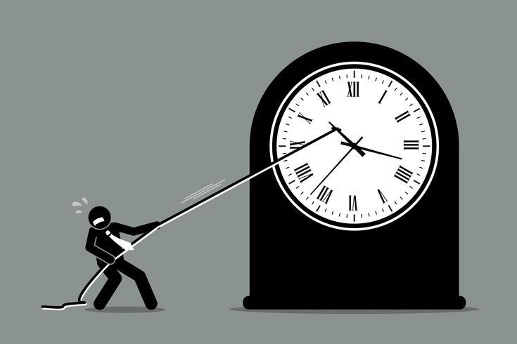 Empresário tentando impedir que o relógio se mova. vetor
