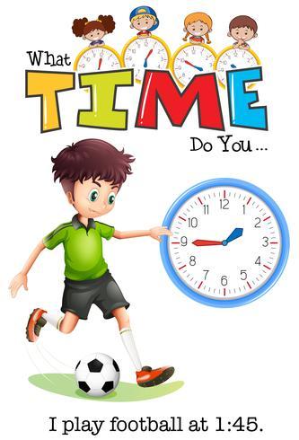Um menino jogar futebol em 1:45 vetor