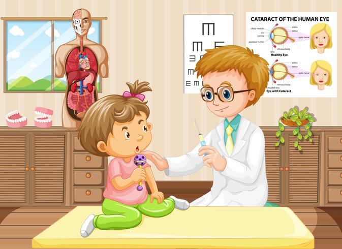 Médico pediatra e bebê no hospital vetor