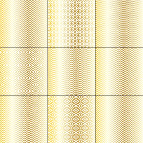 padrões geométricos de ouro branco mod bargello vetor