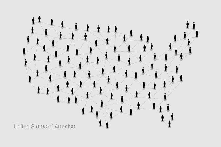 Mapa dos EUA. Mapa dos Estados Unidos. vetor