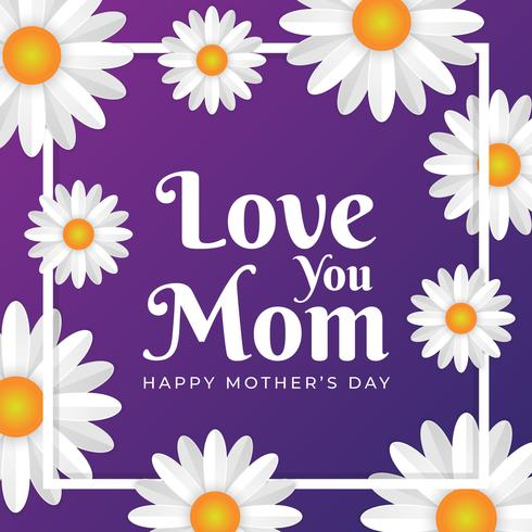 Cartão de dia das mães com fundo de flores vetor