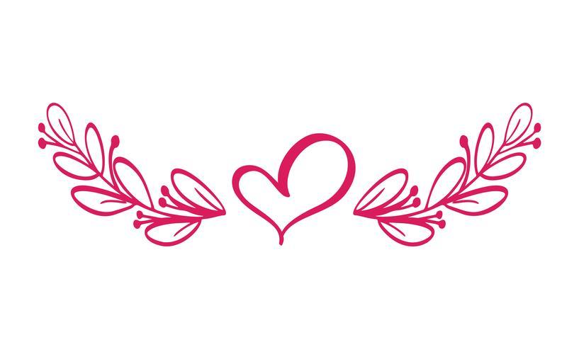 Vetor de divisores isolado. Linha horizontal vintage com coração. Regras de página decorativas. Separação selecione o texto