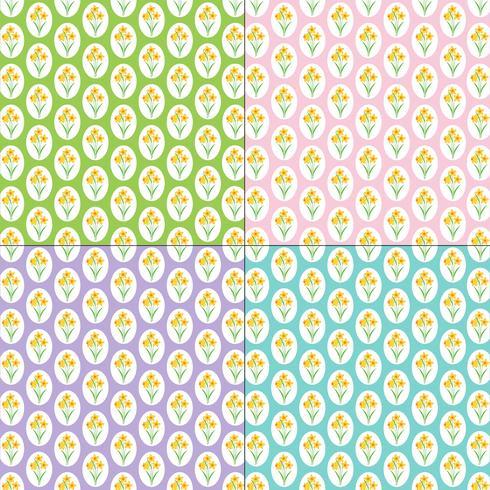 padrões de narcisos em fundos pastel vetor
