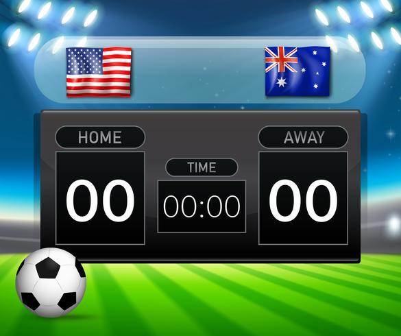 Modelo de placar de futebol EUA vs Austrália vetor