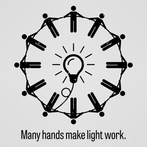 Muitas mãos fazem a luz funcionar. vetor
