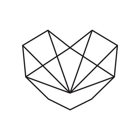 Ícone de forma geométrica amor coração preto vector. Design ilustração para embalagem, cartão de casamento e modelo de capa de dia dos namorados vetor
